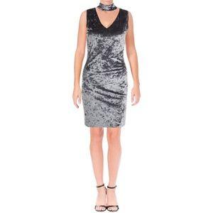 Aqua Crushed Velvet Choker Sleeveless Mini Dress